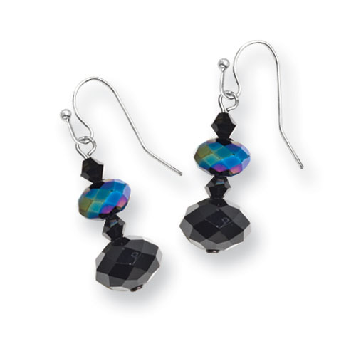 Black-plated Aurora Borealis Black Crystal Beaded Drop Earrings. Price: $21.36