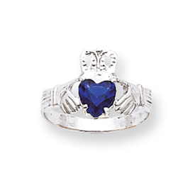 14K White Gold September Birthstone Claddagh Ring. Price: $223.60