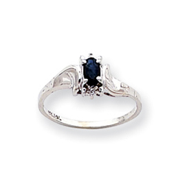 14K White Gold September Sapphire & .01ct Diamond Birthstone Ring. Price: $163.86