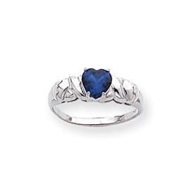 14K White Gold Synthetic September Heart Birthstone Ring. Price: $199.54