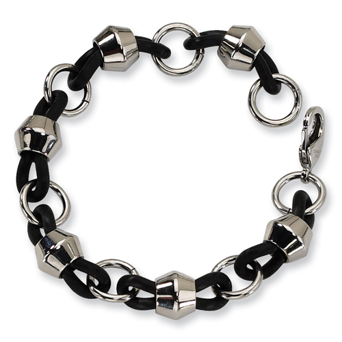Stainless Steel Black Rubber Bracelet. Price: $44.50