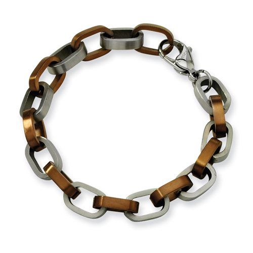 Stainless Steel Chocolate color IP-plated Fancy Bracelet. Price: $39.50