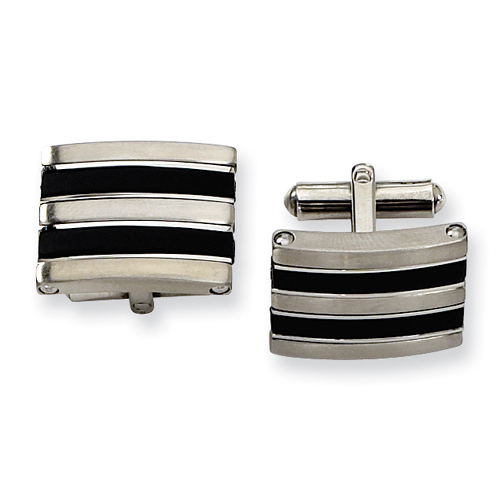 Stainless Steel Black Rubber Cuff Links. Price: $24.50