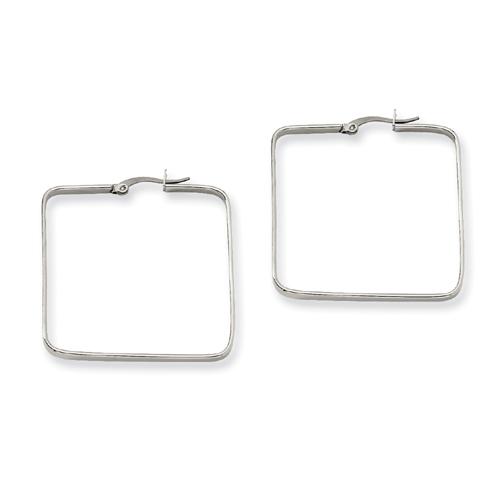 Stainless Steel 3x38mm Square Hoop Earrings. Price: $12.50