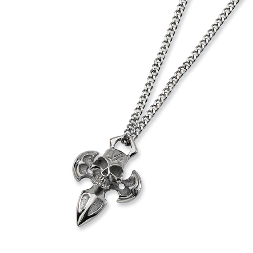 Stainless Steel Cross with Skull Necklace. Price: $33.04