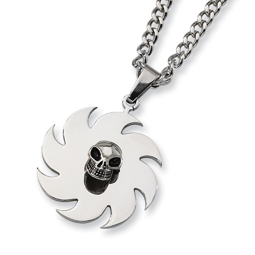 Stainless Steel Saw Blade with Skull Necklace. Price: $39.50