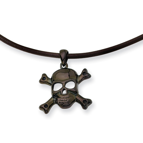 Stainless Steel Black Color IP-plated Skull With Cross Bones Pendant Necklace. Price: $38.70