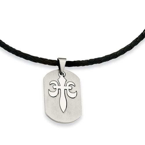 Stainless Steel Fleur De Lis Pendant Necklace. Price: $37.22