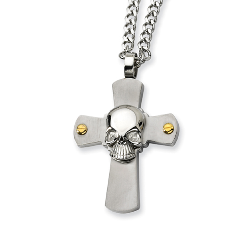 Stainless Steel Skull On Cross Necklace. Price: $37.50