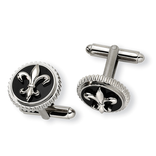 Titanium With Black Enamel Fleur De Lis Cuff Links. Price: $75.98