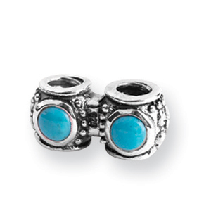 Sterling Silver Reflections Turquoise CZ Connector Bead. Price: $59.84