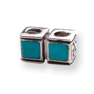 Sterling Silver Reflections Turquoise CZ Connector Bead. Price: $50.28