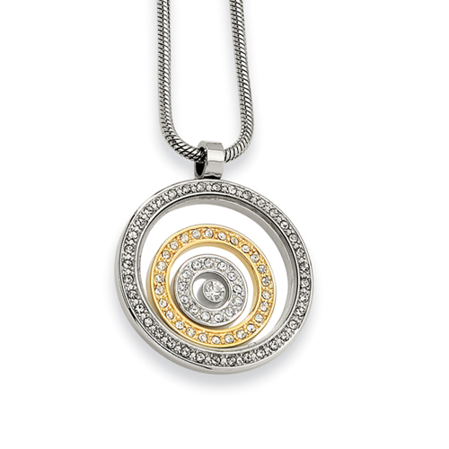 Stainless Steel And IP-plated Cubic Zirconia Circle Pendant Necklace. Price: $79.50