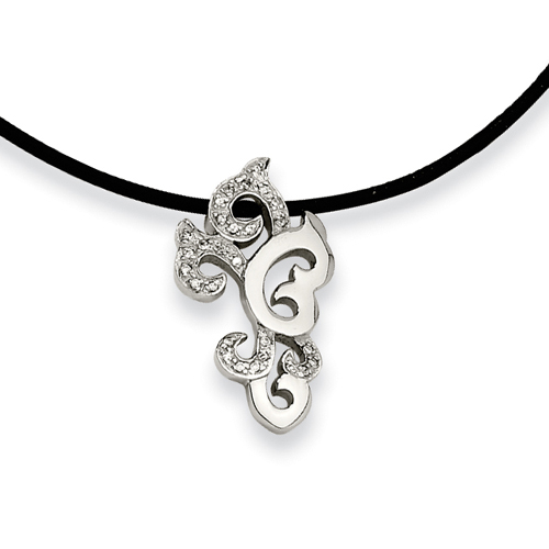 Stainless Steel Cubic Zirconia Pendant Necklace. Price: $55.98