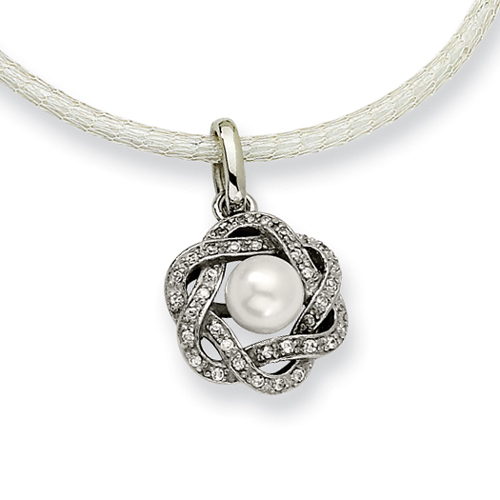 Stainless Steel Cultured Pearl & Cubic Zirconia Pendant. Price: $66.00