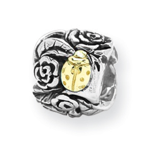 Sterling Silver & 14k Gold Reflections Ladybug Floral Bead. Price: $150.46