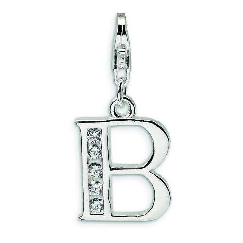 Sterling Silver Cubic Zirconia Letter B With Lobster Clasp Charm. Price: $16.66