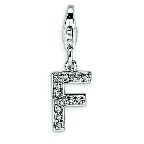 Sterling Silver Cubic Zirconia Letter F With Lobster Clasp Charm. Price: $14.48