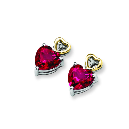 Sterling Silver & 14K Crimson Red Topaz and Diamond Earrings. Price: $76.12