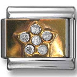 Gold Star Zirconia Italian Charm