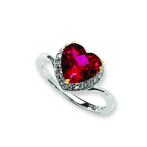 Sterling Silver & 14K Crimson Red Topaz And Diamond Ring. Price: $107.16