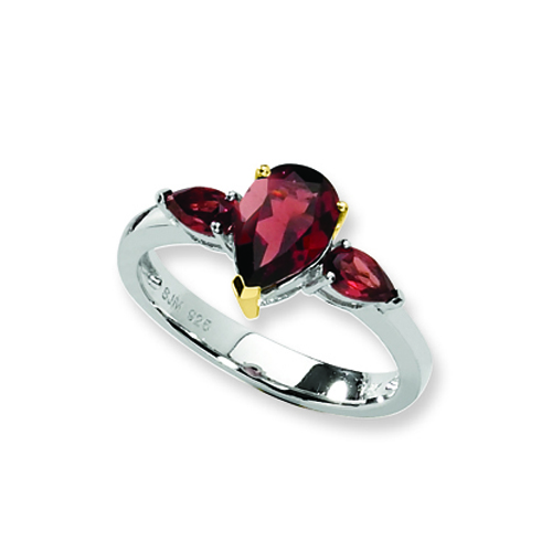 Sterling Silver & 14K Gold Garnet Ring. Price: $73.34