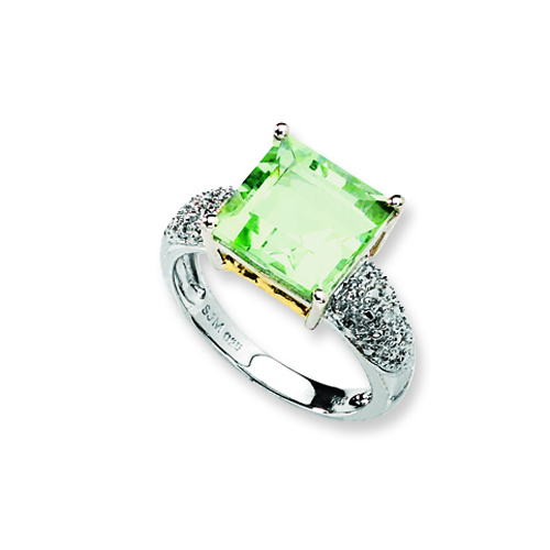 Sterling Silver & 14K Gold Green Amethyst and Diamond. Price: $101.14