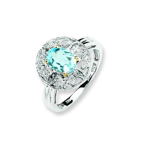 Sterling Silver & 14K Gold Sky Blue & Diamond Ring. Price: $63.30