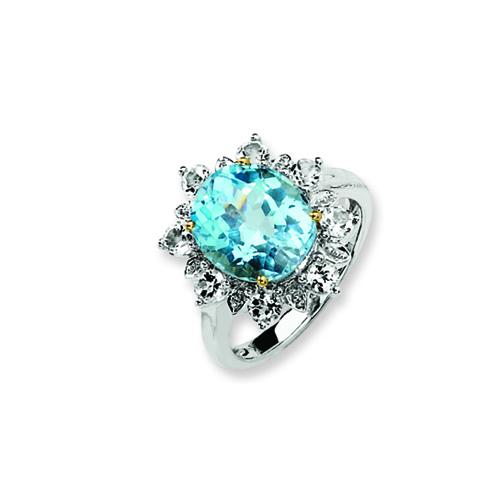 Sterling Silver & 14K Gold Sky Blue & White Topaz Ring. Price: $128.82