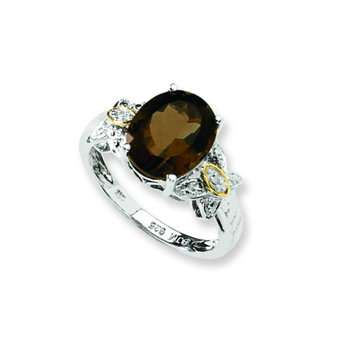 Sterling Silver & 14K Gold Smokey Quartz And Diamond Ring. Price: $67.60