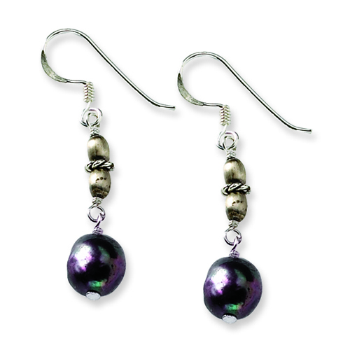 Sterling Silver Black Freshwater Cultured Pearl Earrings. Price: $13.48