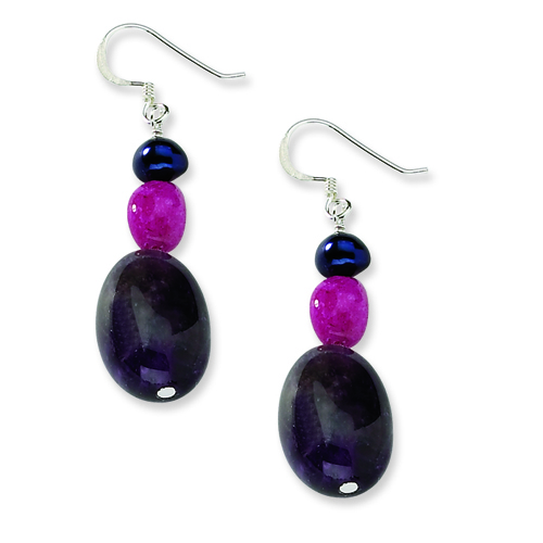 Sterling Silver Amethyst/Fuchsia Jade & Peacock Fresh Water Cult Pearl Earrings. Price: $9.92