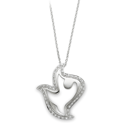 """Sterling Silver & Cubic Zirconia Amazing Peace 18"""" Dove Necklace. Price: $74.71"""