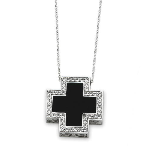 """Sterling Silver Black Onyx & Cubic Zirconia The Battle Cross 18"""" Necklace. Price: $110.95"""