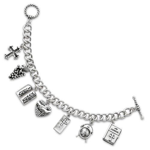 "Sterling Silver Answered Prayer 7.5"" Locket Charm Bracelet. Price: $393.10"