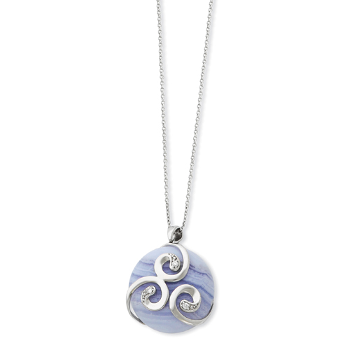 """Sterling Silver With Blue Lace Agate & Cubic Zirconia River Of Hope 18"""" Necklace. Price: $84.31"""