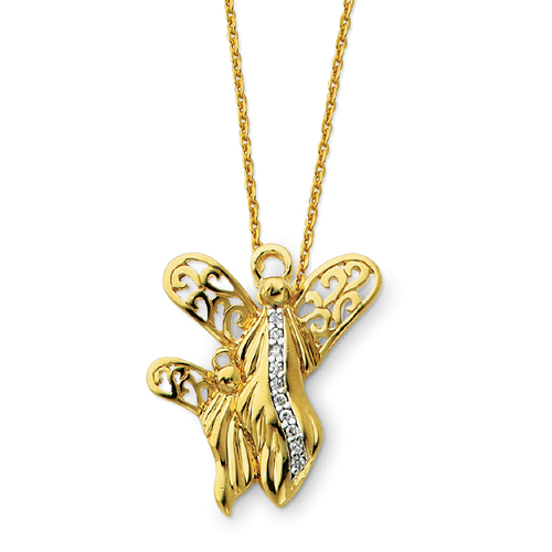 "Sterling Silver & Gold-plated Angel Of Motherhood 18"" Necklace. Price: $59.21"
