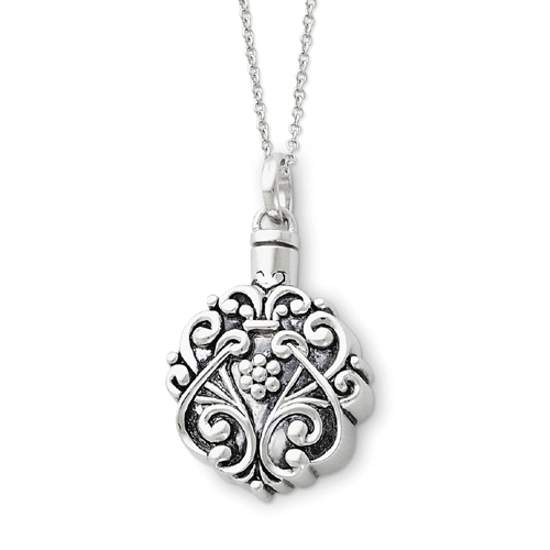 "Sterling Silver Antiqued Circle Remembrance Ash Holder 18"" Necklace. Price: $127.80"