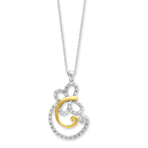 Sterling Silver & Gold-plated Cubic Zirconia Carefree 18in Necklace. Price: $79.97