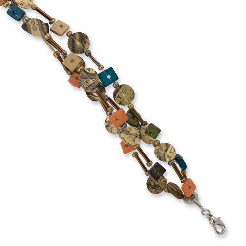 "Silver-tone Multicolored Coconut, Acrylic Bead & Sequin 7"" Bracelet. Price: $14.66"