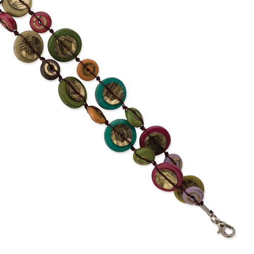 "Silver-tone Multicolored Hamba Wood & Sequin 7.25"" Bracelet. Price: $13.34"
