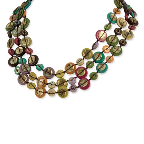 "Silver-tone Multicolored Hamba Wood & Sequin 18"" Necklace. Price: $20.00"