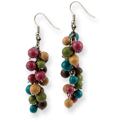 "Silver-tone Multicolored Hamba Wood Dangle 2.25"" Earrings. Price: $12.66"