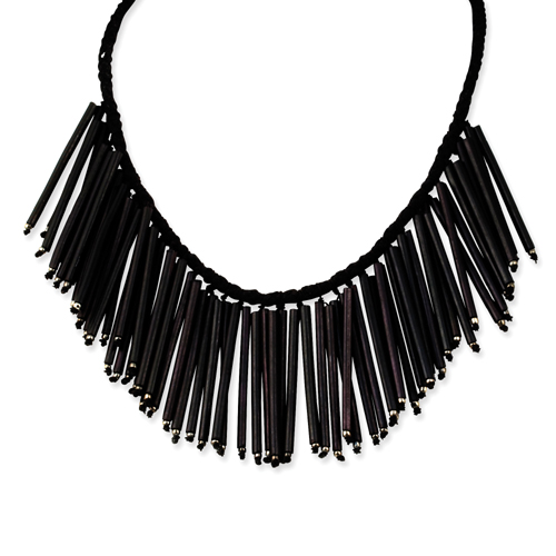 """Black Agsam Tube & Natural Wood on Cotton Cord 21"""" Necklace. Price: $5.26"""