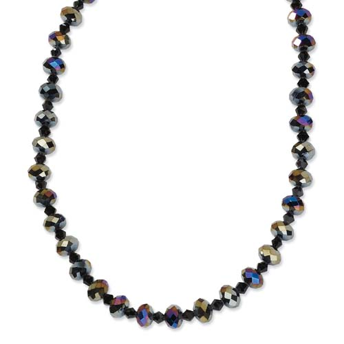 "Black-plated Aurora Borealis Black Crystal 16"" With Extension Necklace. Price: $34.68"