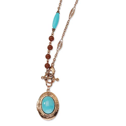 "Copper-tone Aqua & Brown Beads 16"" Locket Necklace. Price: $50.67"