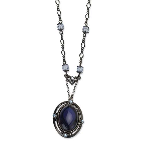 "Black-plated Light & Dark Blue Crystal 16"" With Extension Necklace. Price: $42.66"