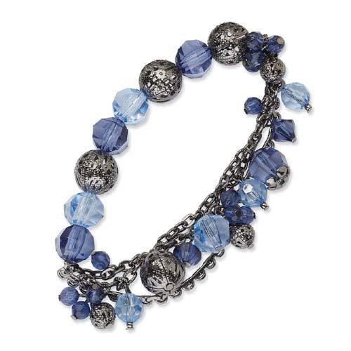 Silver-tone Light & Dark Blue Crystal Stretch Bracelet. Price: $21.33