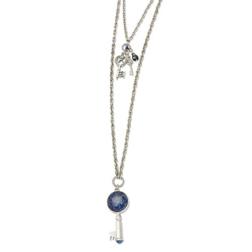 Silver-tone Sodalite & Blue Crystal Key Pendants Necklace. Price: $42.66