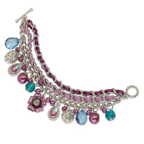 "Silver-tone Purple & Teal Enamel With Purple Beads 7.5"" Bracelet. Price: $42.66"